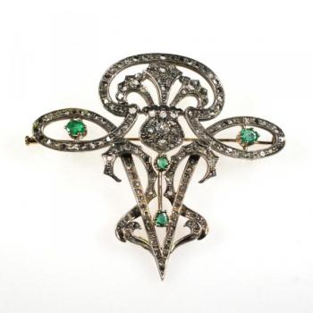 Brilliant Brooch - silver, gold - 1900