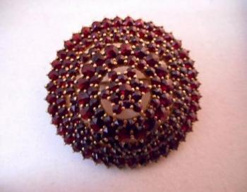 Brooch with Garnet - silver - GRANÁT,Turnov - 1960
