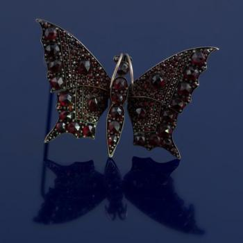 Czech garnet buterfly brooch