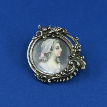silver brooch - ivory, silver - 1900